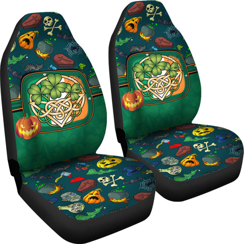 Image of Ireland Halloween Car Seat Covers Celtic Shamrock K4