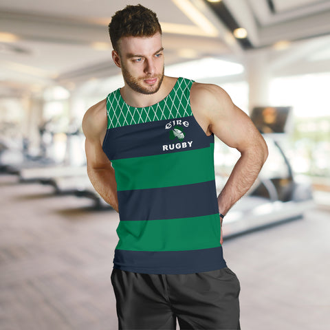 Rugby Mens Tank Top - Croker Green and Navy Traditional - Green - Front - For Men