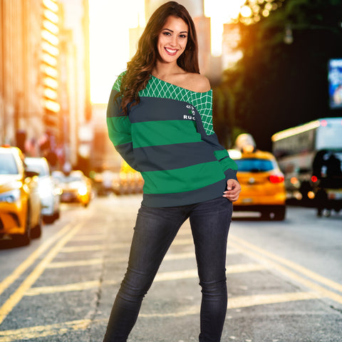 Rugby Off Shoulder Sweater - Croker Green and Navy Traditional - Green - Front - For Women