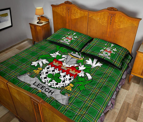Image of Leech Ireland Quilt Bed Set Irish National Tartan | Over 1400 Crests | Home Set | Bedding Set
