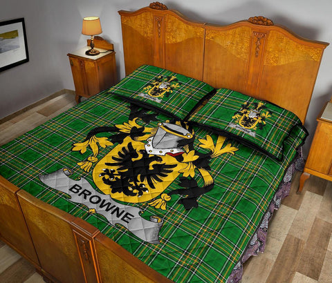 Browne Ireland Quilt Bed Set Irish National Tartan | Over 1400 Crests | Home Set | Bedding Set