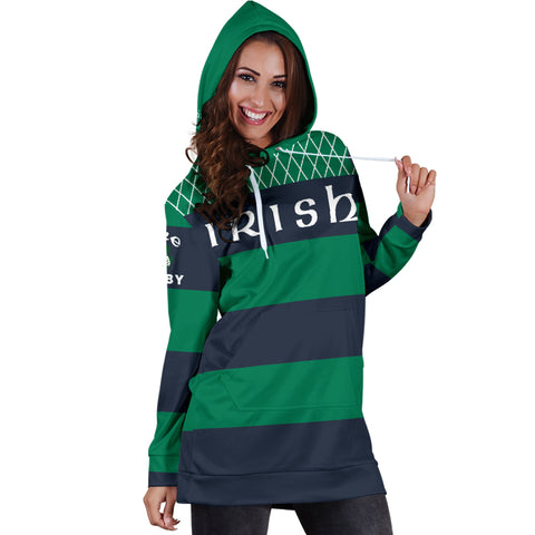 Rugby Hoodie Dress - Croker Green and Navy Traditional - Green - Front - For Women