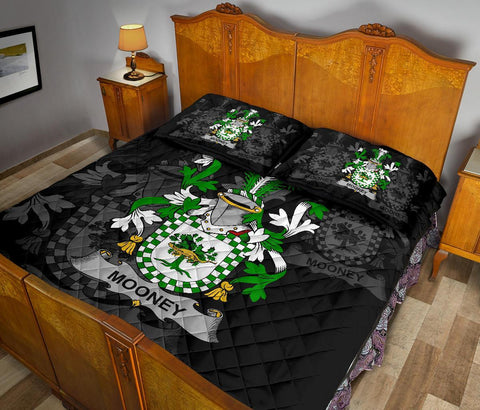 Irish Quilt Bed Set, Mooney or O'Mooney Family Crest Premium Quilt And Pillow Cover A7