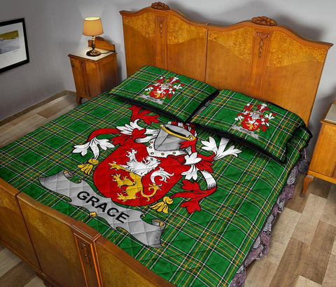 Image of Grace Ireland Quilt Bed Set Irish National Tartan | Over 1400 Crests | Home Set | Bedding Set