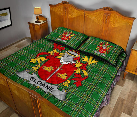 Sloane Ireland Quilt Bed Set Irish National Tartan | Over 1400 Crests | Home Set | Bedding Set