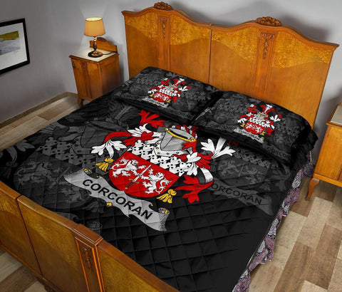 Irish Quilt Bed Set, Corcoran or McCorcoran Family Crest Premium Quilt And Pillow Cover A7