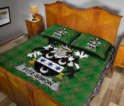 Image of Fitz-Simon Ireland Quilt Bed Set Irish National Tartan | Over 1400 Crests | Home Set | Bedding Set