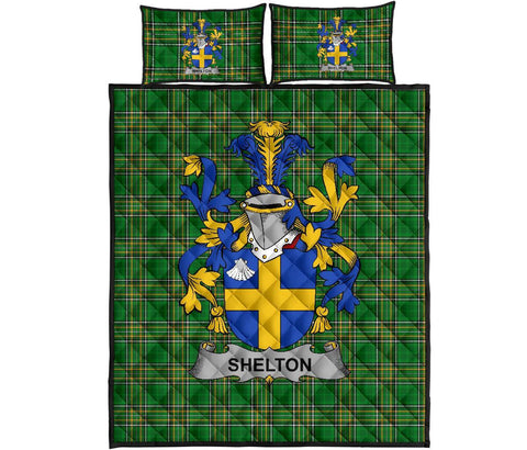 Shelton Ireland Quilt Bed Set Irish National Tartan | Over 1400 Crests | Home Set | Bedding Set