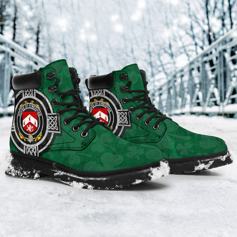 Irish All Season Boots, Meehan or O'Meighan Family Crest Shamrock 6-inch Boots
