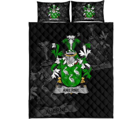 Irish Quilt Bed Set, Aherne or Mulhern Family Crest Premium Quilt And Pillow Cover A7