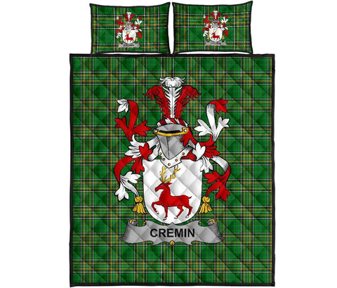 Image of Cremin or O'Cremin Ireland Quilt Bed Set Irish National Tartan | Over 1400 Crests | Home Set | Bedding Set