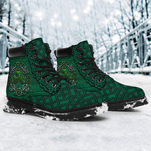Image of Happy St. Patrick's Day - Irish All Season Boots, Ireland Celtic Shamrock Boots | 1stireland | Footwear