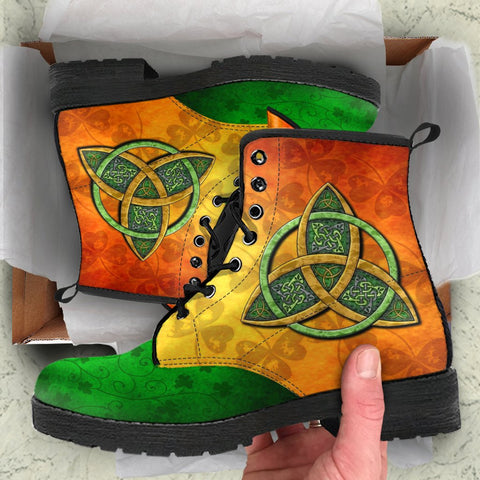 Irish Boots, Ireland Celtic Trinity Knot Leather Boots