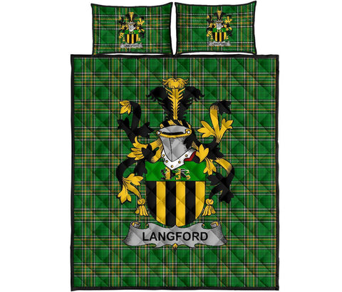 Image of Langford Ireland Quilt Bed Set Irish National Tartan | Over 1400 Crests | Home Set | Bedding Set