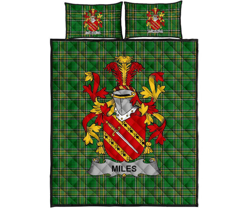 Miles or Moyles Ireland Quilt Bed Set Irish National Tartan | Over 1400 Crests | Home Set | Bedding Set