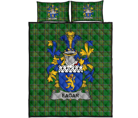 Eagar Ireland Quilt Bed Set Irish National Tartan | Over 1400 Crests | Home Set | Bedding Set