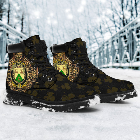 Image of Hawkins or Haughan Family Crest Shamrock Gold Cross 6-inch Irish All Season Boots K6