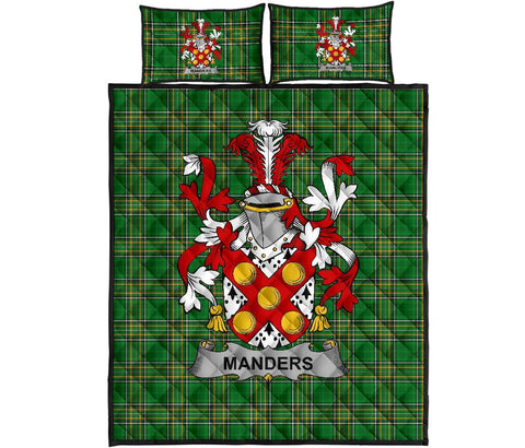 Manders Ireland Quilt Bed Set Irish National Tartan | Over 1400 Crests | Home Set | Bedding Set