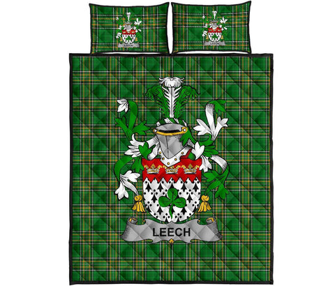 Leech Ireland Quilt Bed Set Irish National Tartan | Over 1400 Crests | Home Set | Bedding Set