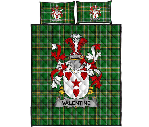 Valentine Ireland Quilt Bed Set Irish National Tartan | Over 1400 Crests | Home Set | Bedding Set