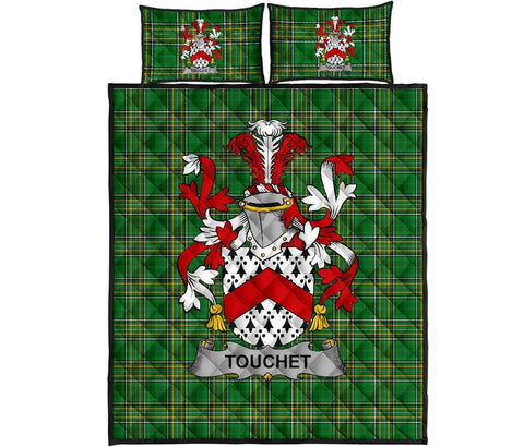 Touchet Ireland Quilt Bed Set Irish National Tartan | Over 1400 Crests | Home Set | Bedding Set