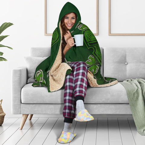 Irish Harp With Shamrock Hooded Blanket - Dark Green Color 5