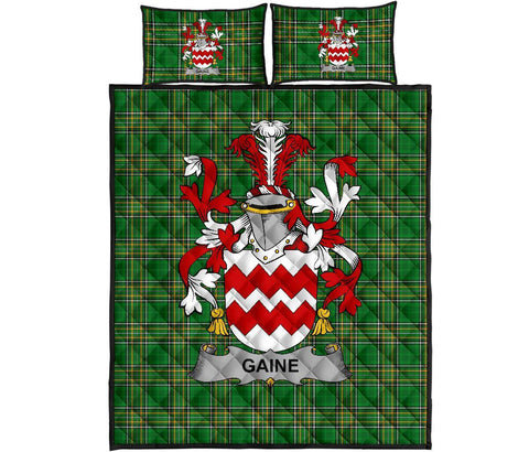 Image of Gaine or Gainey Ireland Quilt Bed Set Irish National Tartan | Over 1400 Crests | Home Set | Bedding Set