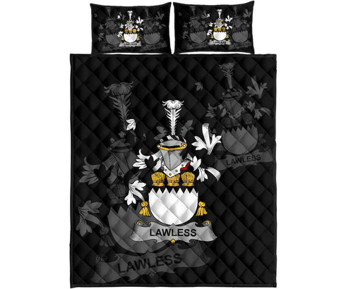 Irish Quilt Bed Set, Lawless Family Crest Premium Quilt And Pillow Cover A7