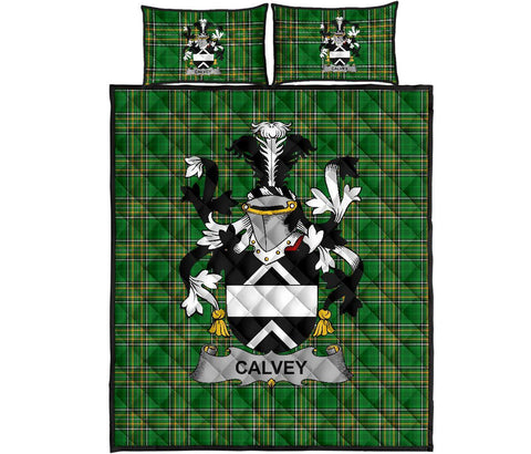 Image of Calvey or McElwee Ireland Quilt Bed Set Irish National Tartan | Over 1400 Crests | Home Set | Bedding Set