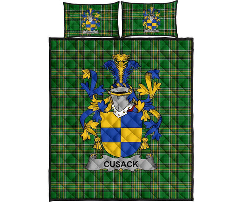 Image of Cusack Ireland Quilt Bed Set Irish National Tartan | Over 1400 Crests | Home Set | Bedding Set