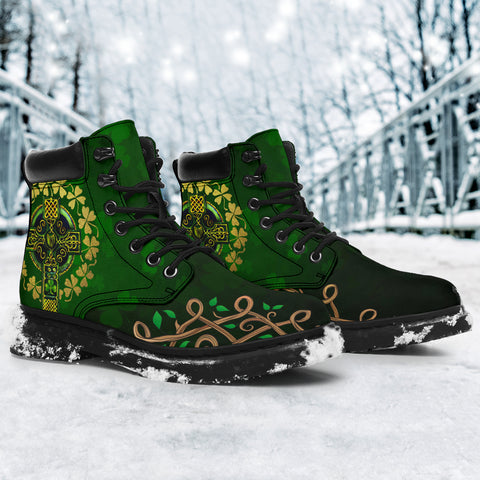 Irish St Patrick Day's Boots, Ireland Éire Cross Celtic All Season Boots K7