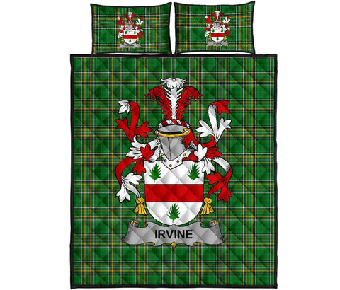 Image of Irvine Ireland Quilt Bed Set Irish National Tartan | Over 1400 Crests | Home Set | Bedding Set