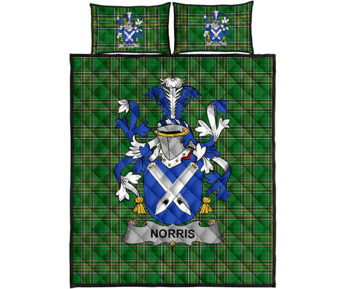 Norris Ireland Quilt Bed Set Irish National Tartan | Over 1400 Crests | Home Set | Bedding Set