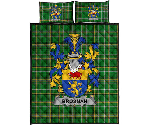 Brosnan or O'Brosnan Ireland Quilt Bed Set Irish National Tartan | Over 1400 Crests | Home Set | Bedding Set