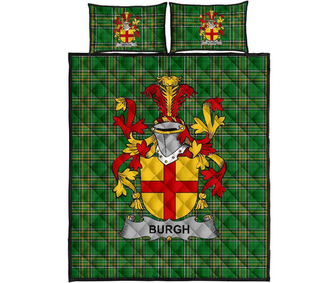 Burgh Ireland Quilt Bed Set Irish National Tartan | Over 1400 Crests | Home Set | Bedding Set