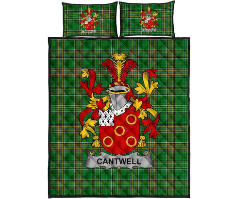 Cantwell Ireland Quilt Bed Set Irish National Tartan | Over 1400 Crests | Home Set | Bedding Set