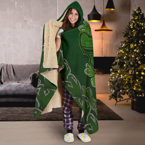 Irish Harp With Shamrock Hooded Blanket - Dark Green Color 6