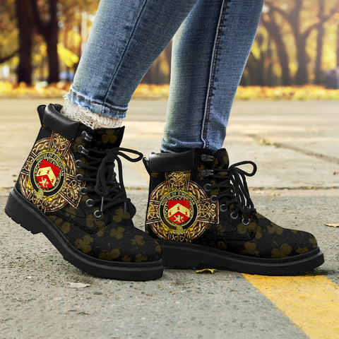 Meehan or O'Meighan Family Crest Shamrock Gold Cross 6-inch Irish All Season Boots K6