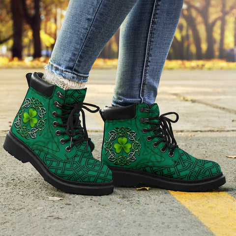 Irish St Patrick's Day Boots, Ireland Celtic Clover All Season Boots K4