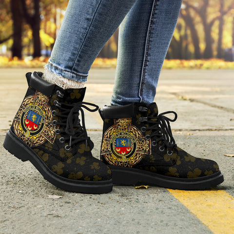 Image of McLoughlin or Loughlin Family Crest Shamrock Gold Cross 6-inch Irish All Season Boots K6