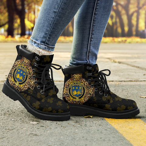 Shanley or McShanly Family Crest Shamrock Gold Cross 6-inch Irish All Season Boots K6