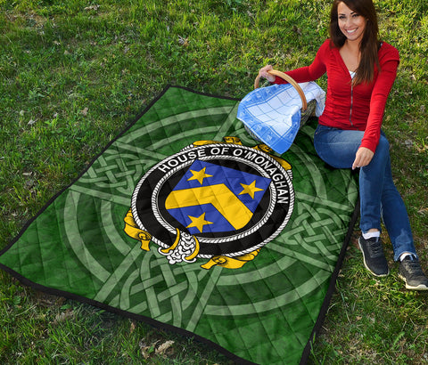 Irish Quilt, Monahan or O'Monaghan Family Crest Shamrock Premium Quilt