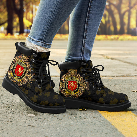 Dempsey or O'Dempsey Family Crest Shamrock Gold Cross 6-inch Irish All Season Boots K6