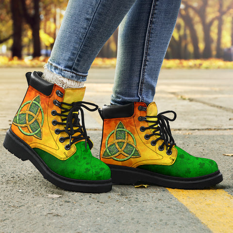 Irish Shamrock Boots, Ireland Celtic Trinity Knot All Season Boots TH5