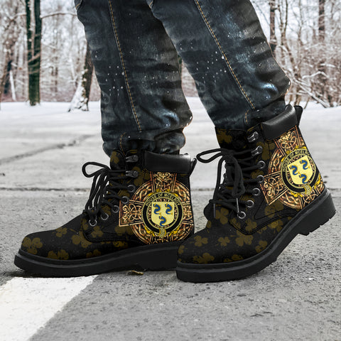 Image of McElroy or Gilroy Family Crest Shamrock Gold Cross 6-inch Irish All Season Boots K6