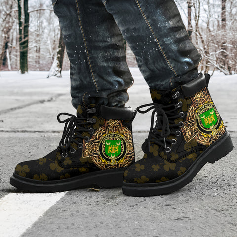 Kilkelly or Killikelly Family Crest Shamrock Gold Cross 6-inch Irish All Season Boots K6