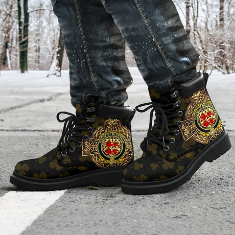 Image of McTiernan or Kiernan Family Crest Shamrock Gold Cross 6-inch Irish All Season Boots K6