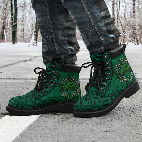 Image of Ireland All Season Boots Celtic Shamrock, Irish St Patrick's Day Boots K4
