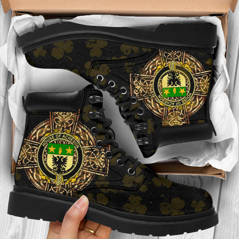 Image of Acheson Family Crest Shamrock Gold Cross 6-inch Irish All Season Boots K6