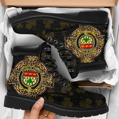 Image of Leech Family Crest Shamrock Gold Cross 6-inch Irish All Season Boots K6